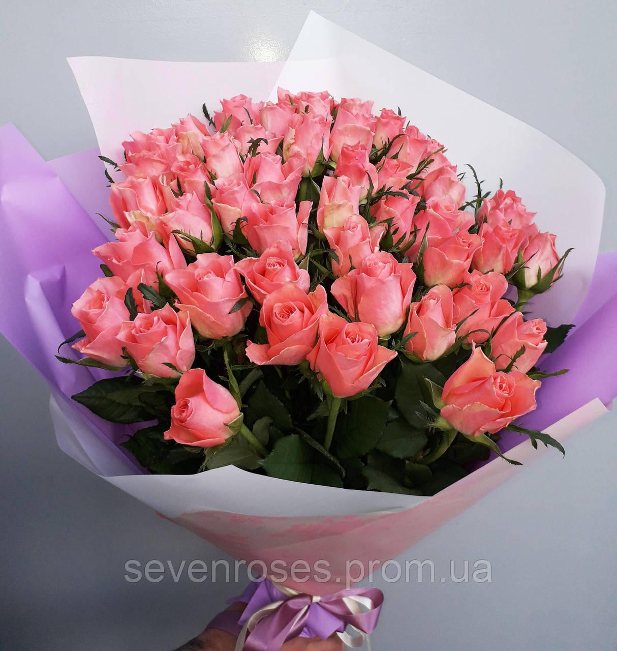 """Букет 51 роза """"Ace Pink"""" (70см)"""
