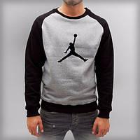 Мужская спортивная кофта (спортивный свитшот) Jordan, Джордан, серо-черная (в стиле)