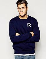 Мужская спортивная кофта (спортивный свитшот) Reebok, рибок, темно-синяя (в стиле)