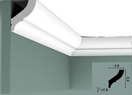 Карниз(плинтус) потолочный гладкий Orac Decor Basixx CB502N, лепной декор из пенопласта