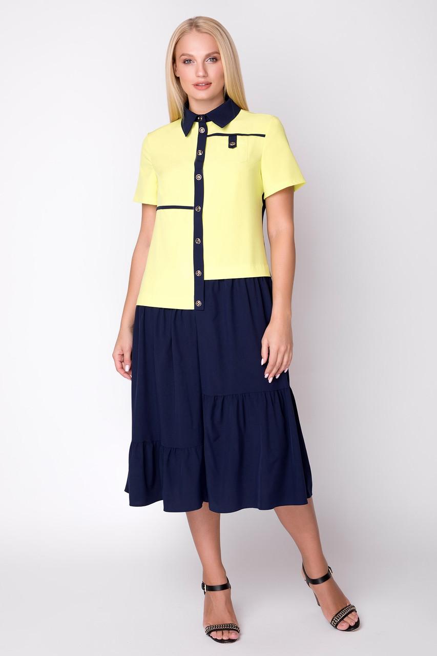 660e9045f618d12 Женское двухцветное платье-рубашка больших размеров (р. 48-56), цена ...