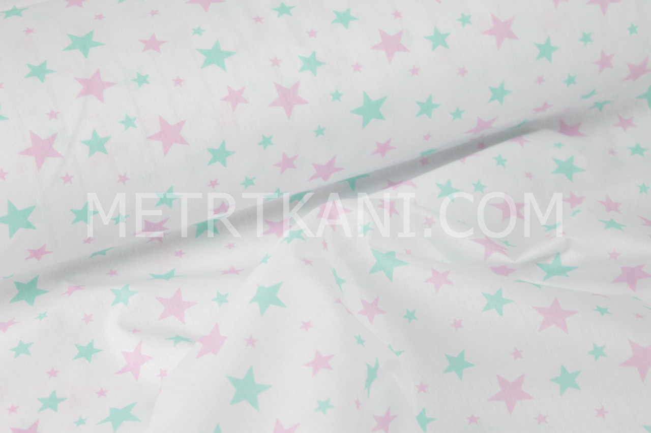 """Ткань бязь """"Звездопад"""" мятно-розовый на белом №937"""