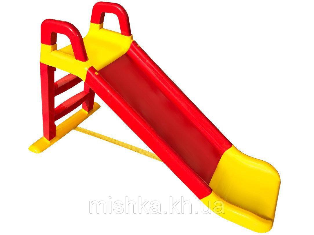 Горка детская пластиковая DOLONI Весёлый спуск желто-красная