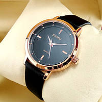 Высокого качества, стильные часы Skmei 1457 на черном кожаном ремешке, черный циферблат, корпус красное золото