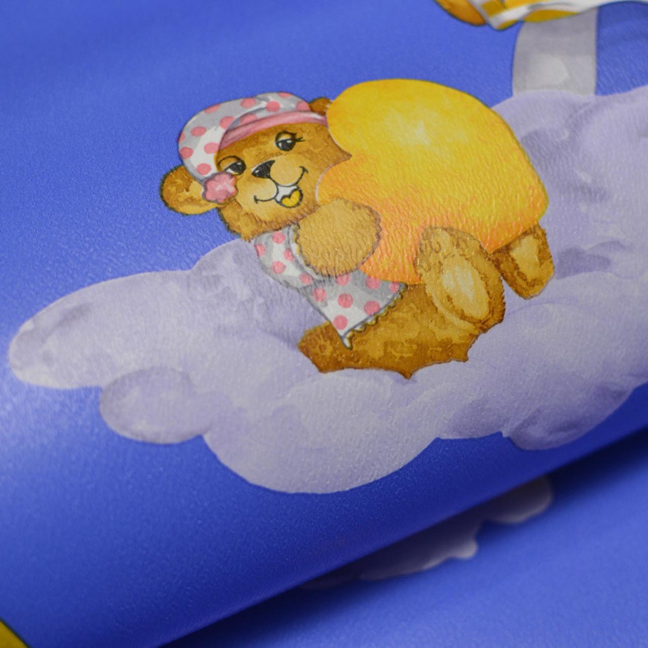 Обои для стен детские шпалери в дитячу сині з медведиками паперові в детскую 0,53*10м, ограниченное количество