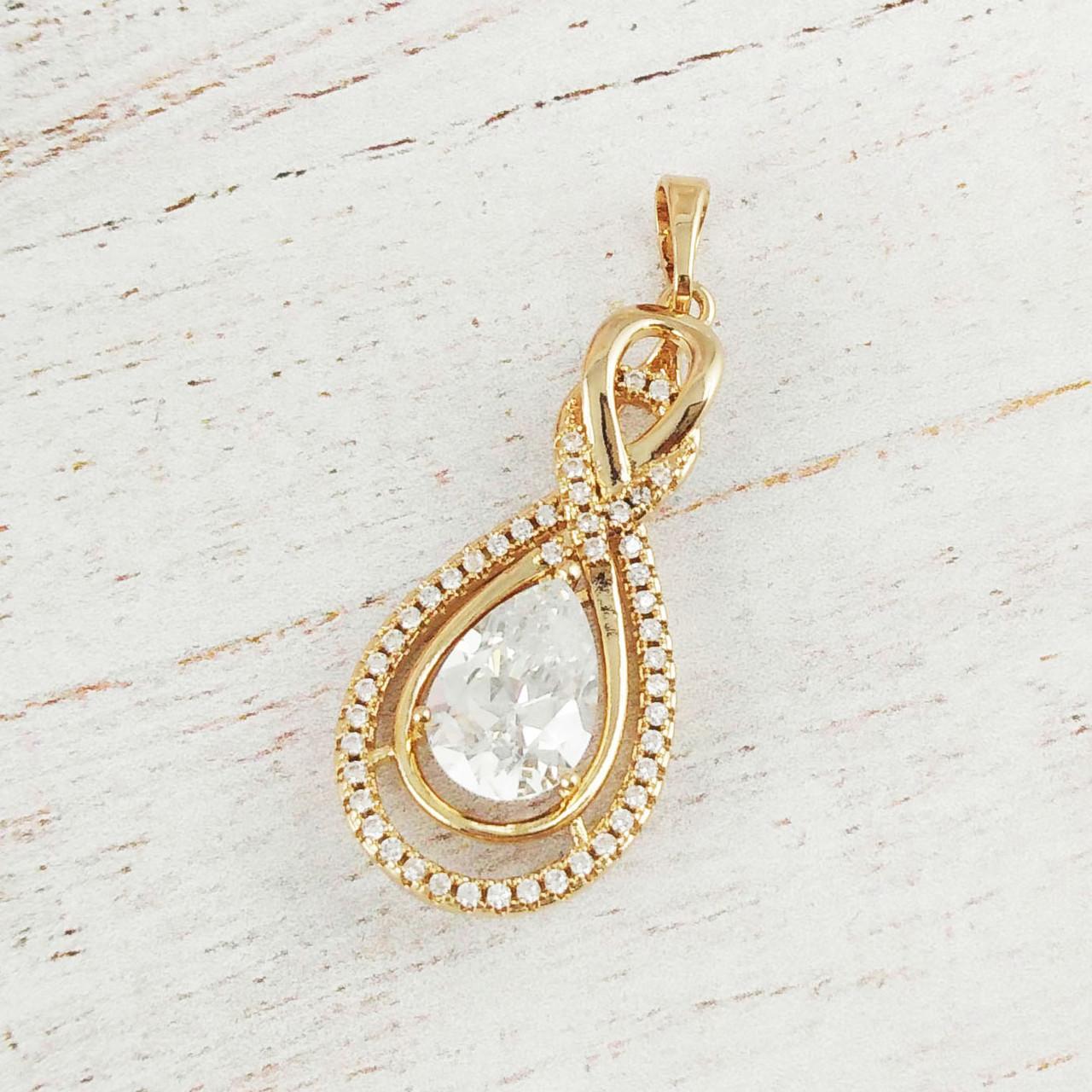 """Кулон Xuping Jewelry """"Алмазная капля"""" с белым камнем, медицинское золото, позолота 18К. А/В 3314"""