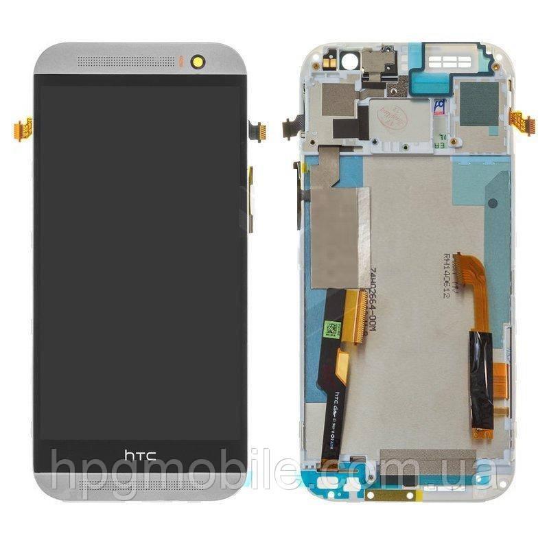 Дисплей для HTC One M8 Dual Sim, модуль в сборе (экран и сенсор), с рамкой, белый, оригинал