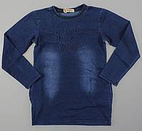 Реглан с имитацией джинсы для девочек Grace оптом, 134-164 pp. {есть:140,146,164} [Ростовка]
