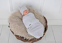 """Европеленка на липучці """"Wind"""" з шапочкою, сірого кольору, для дітей 3-6 міс., фото 1"""
