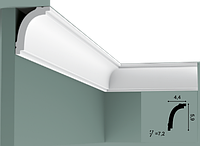 Карниз(плинтус) потолочный гладкий Orac Decor Basixx CB523N, лепной декор из пенопласта