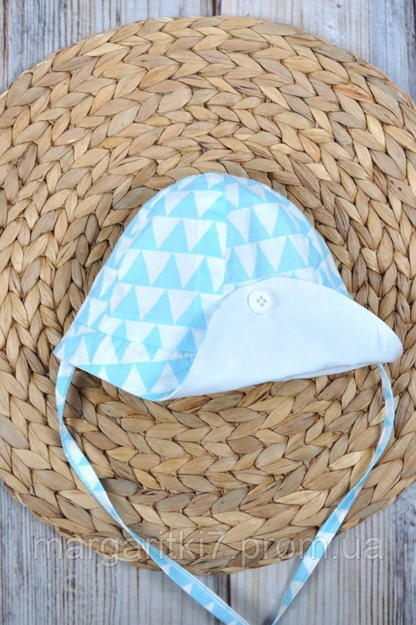 Панама детская Magbaby Lapel голубые треугольники