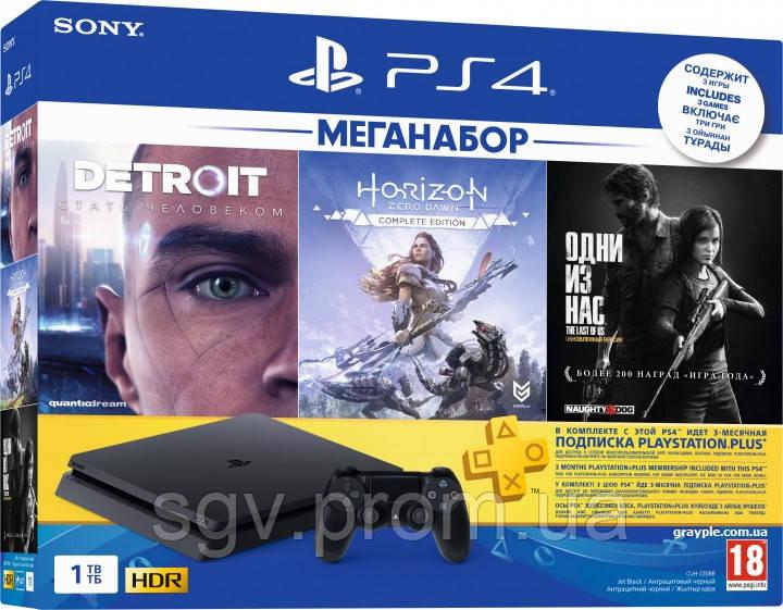 PlayStation 4 Slim 1Tb Rus Black Bundle (CUH-2208B) + 3 Игры Хита + PS Plus 3 мес