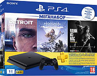 PlayStation 4 Slim 1Tb Rus Black B + 3 Игры (Detroit, HZD, LOU) + PS Plus