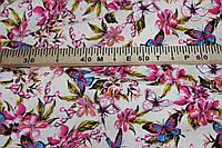Фон беж.Ткань Лен натуральный бабочки №922 эко, фото 1