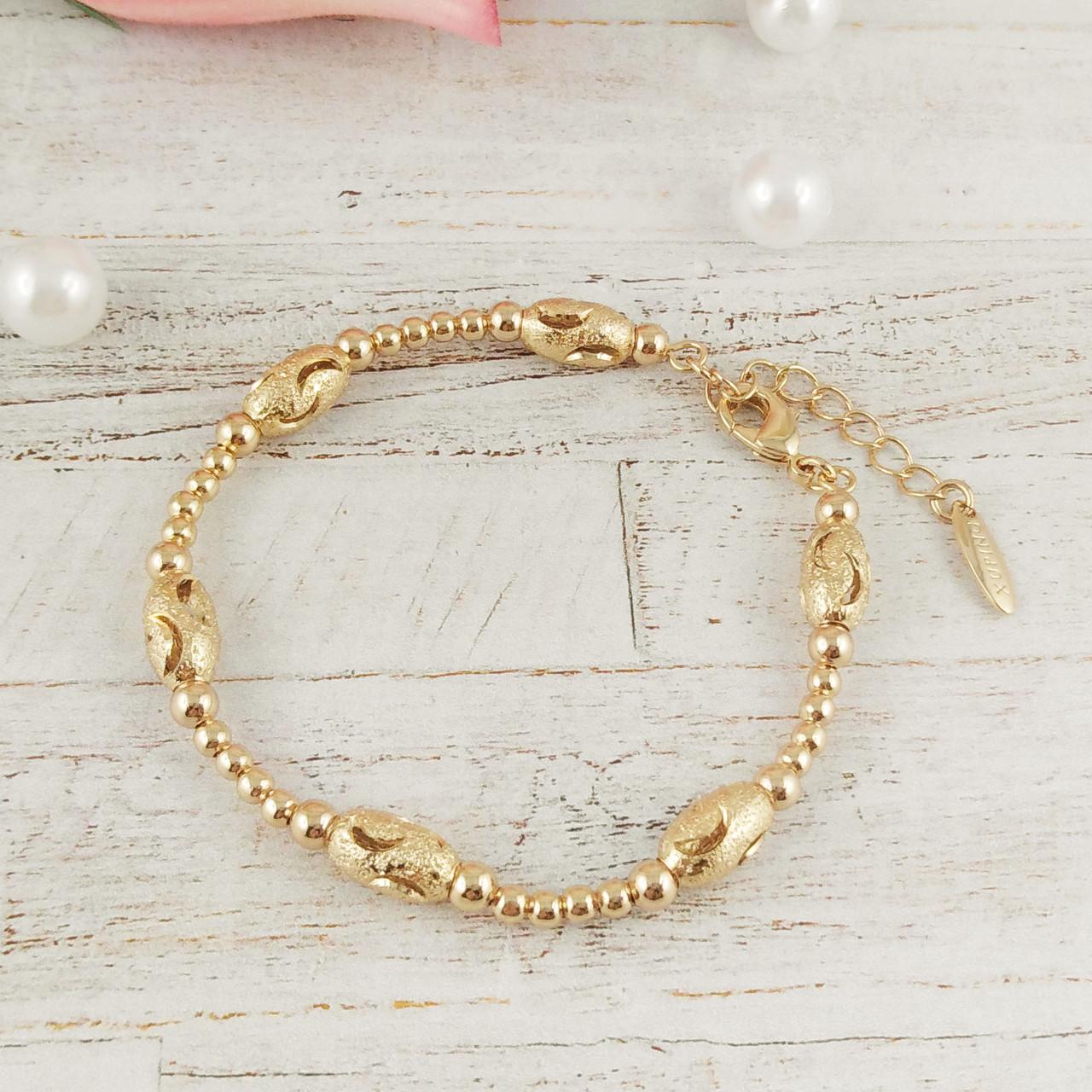 "Браслет Xuping Jewelry 17/21 см ""Плетение Перлина"" с бусинами, медицинское золото, позолота 18К. А/В 3329"