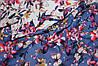 Ткань Лен натуральный бабочки фон джинс №920 эко