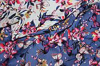Ткань Лен натуральный бабочки фон джинс №920 эко, фото 1