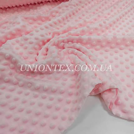 Ткань плюш Minky Dots пупырышки розовый, фото 2