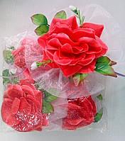 Цветы на ручки свадебного авто (красная роза) 4 шт.