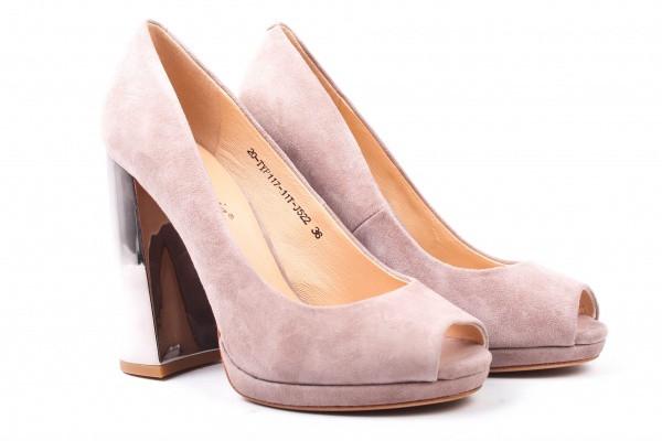 Туфли на каблуке Djovannia натуральная замша, цвет капучино