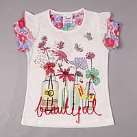 Футболка детская для девочек белая Beautiful Flags/ 98 см (2-3 года )