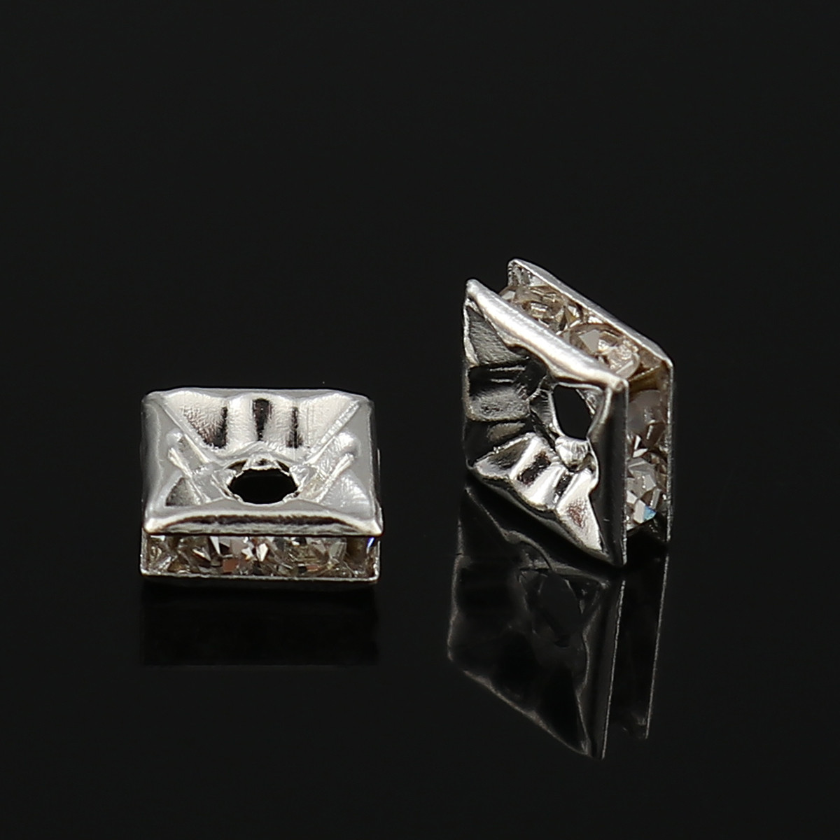 Розділювачі для намистин, Рондель, Квадрат, Метал, Стрази Прозорого кольору, Колір: Срібло, 6 мм х 6 мм, 1,7 мм
