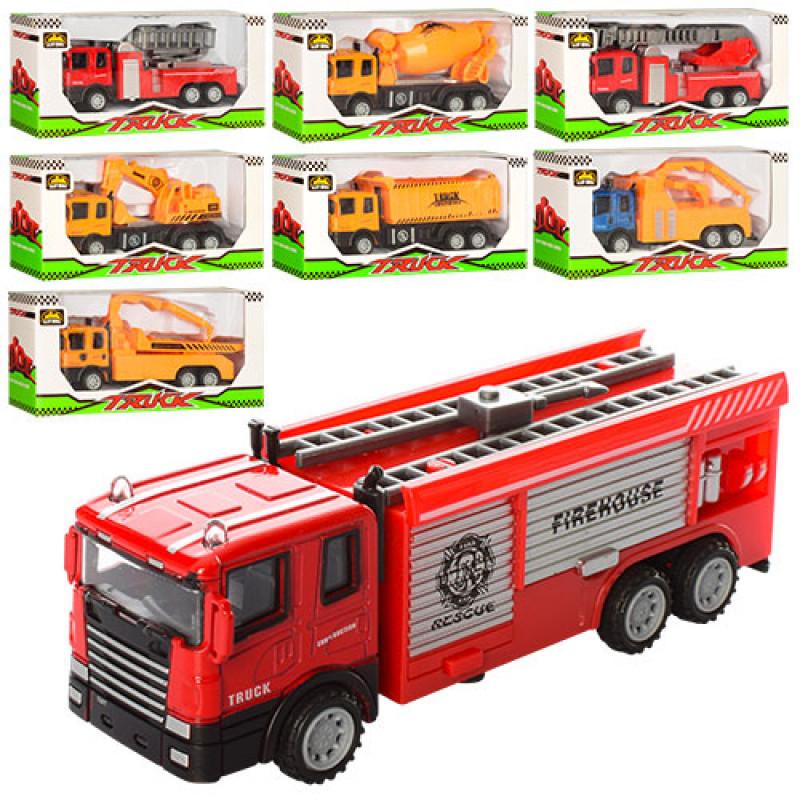 Машинка 559-6-14-22 металева, інерційна, рухомі деталі, 8 видів, в коробці, 19,5-9-5 см