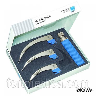 Ларингоскопический набор Эконом, для взрослых, 1 рукоятка + 3 клинка макинтош KaWe