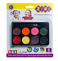 Краски для грима лица и тела Zibi BABY Line ФАНТАЗИЯ, с кистью, 8 цветов (ZB.6567)