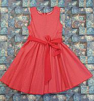 Нарядное детское РЕТРО платье для девочки Фея красное в белий горох 104,110,116,122см коттон, пояс