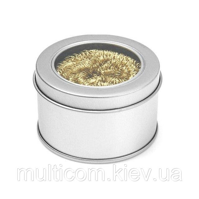 13-03-042. Губка металическаядля очистки жал + канифоль, в металической коробке, YIHUA-08С