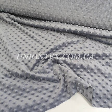 Ткань плюш Minky Dots пупырышки серый, фото 2