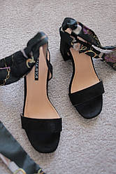 Женские босоножки на каблуке черные замшевые с завязками  36-41 хит