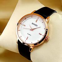Высокого качества, стильные часы Skmei 1457 на черном кожаном ремешке, белый циферблат, корпус красное золото
