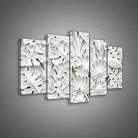 """Модульная картина на холсте """"Белые цветы"""" 2X20X40CM, 2X20X50CM,1X20X60CM (PS10052S17)"""