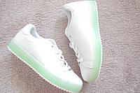 Женские кроссовки кожа Green & White салатовая подошва 36 40 хит! Италия