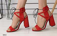 Босоножки красные замшевые на устойчивом каблуке, фото 1