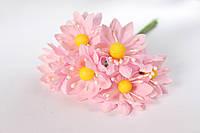 Декоративные цветы 6 шт. диаметр 3,5 см, нежно-розового цвета