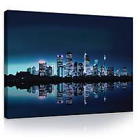 "Картина на холсте ""Город Нью-Йорк в синих тонах "" 100х75 см (PP102O1)"