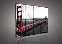 """Модульная картина на холсте """"Мост: Золотые ворота"""" 3x30x80cm (PS103S6)"""