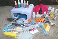 Стартовый набор для маникюра, педикюра, наращивания ногтей и покрытия гель-лаком с УФ лампой 36W
