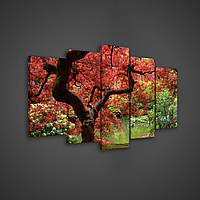 Модульная картина на холсте 2X20X40CM, 2X20X50CM,1X20X60CM Красное дерево (PS1107S17)