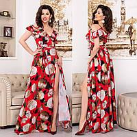 """Червоне довге плаття-сарафан з квітами """"Акапулько роуз"""""""