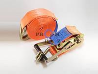 Ремень стяжной РС-5-8 / 196 ПромХоз, нагрузка 2500 кгс, Длина 8 м, Длина рукояти 196 мм, Крючок 12 мм, новый