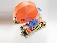 Ремень стяжной РС-4-12 ПромХоз, нагрузка 2000 кгс, Длина 12 м, Длина рукояти 196 мм, Крючок 10 мм, новый