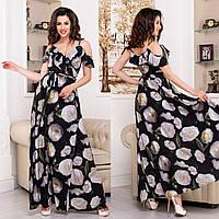"""Чорне довге плаття-сарафан з білими квітами """"Акапулько роуз"""""""