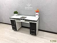 Маникюрный стол с мощной вытяжкой, стол для маникюра с фасадами МДФ черный глянец, Модель V390