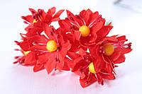 Декоративные цветы 6 шт. диаметр 3,5 см, красного цвета