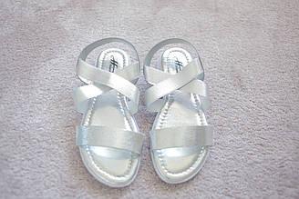 Женские босоножки с резинками серебро Silver лето 37-40