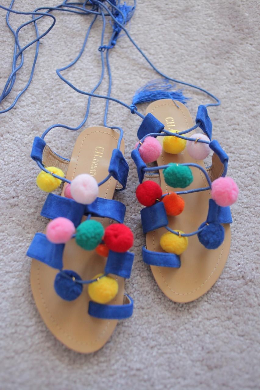 Женские сандалии гладиаторы с помпонами и шнуровкой этно стиль 36-41